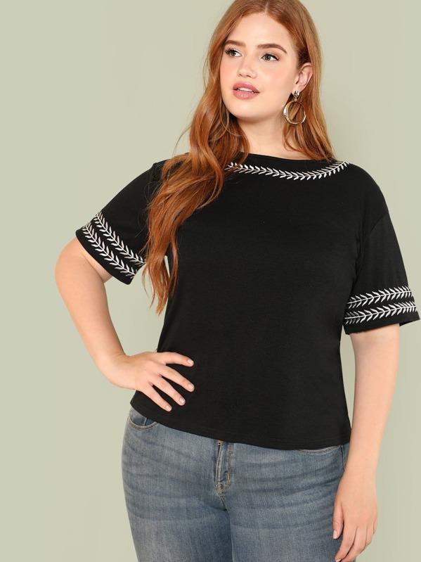 Mejor precio nueva tienda del reino unido Camiseta ribete con estampado de hoja de talla grande