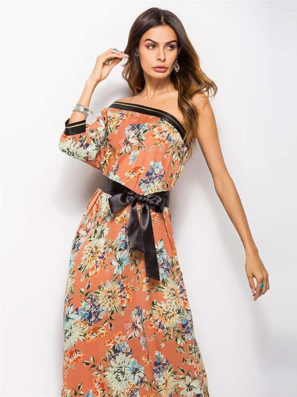 Robe longue imprimée fleur à une épaule-French SheIn(Sheinside) 71c0da302f60