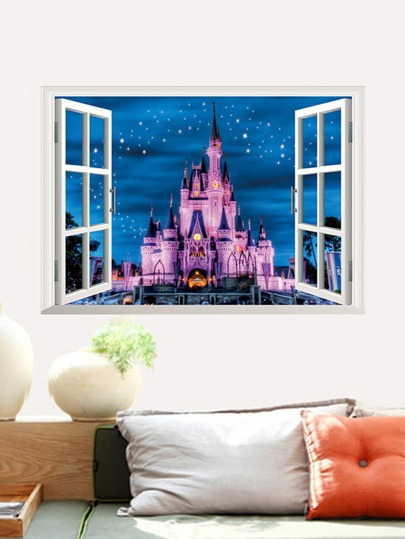 cheap 3d window & castle wall decal for sale australia | shein