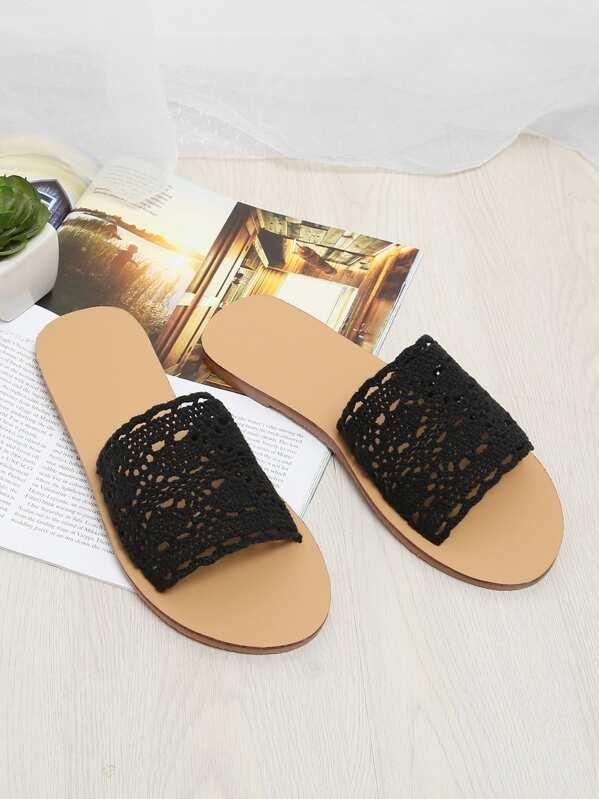7d119a80f3e Knit Design Flat Sandals -SheIn(Sheinside)