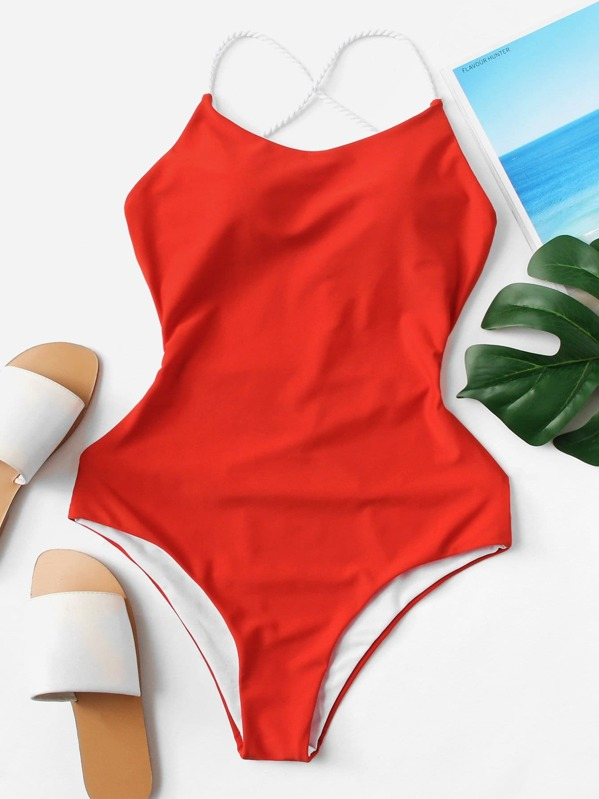 8d1c453222 Seam Trim Open Back One Piece Swimsuit -SheIn(Sheinside)