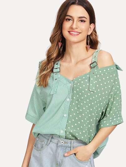 Blusa panel en contraste de hombros descubiertos