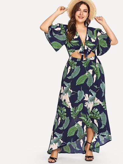 2b32118326d31 Plus Knot Front Cutout Midriff Tropical Dress