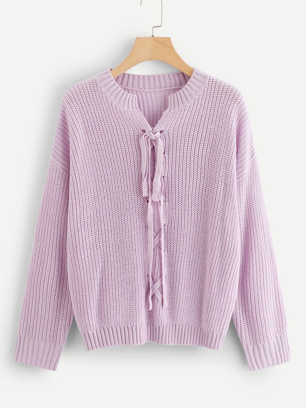 68b1d77baa Lace-Up Front Solid Jumper -SheIn(Sheinside)