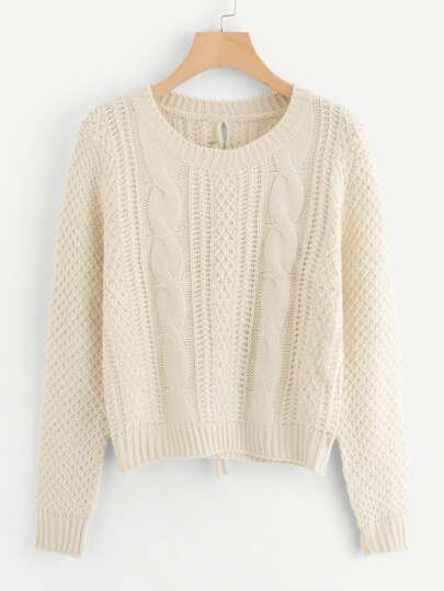 122000f94a Lace-Up Back Cable Knit Sweater