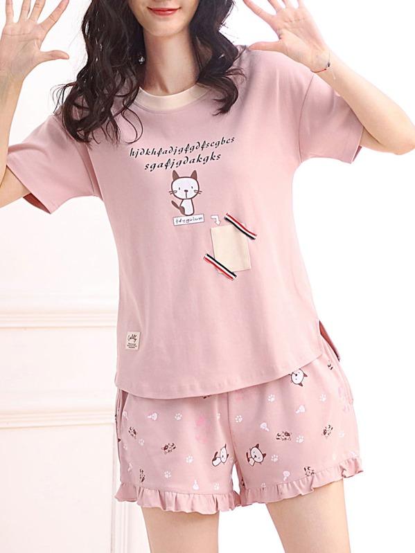 a818ac6dbe Conjunto de pijama con estampado de gato y letras -Spanish SheIn(Sheinside)