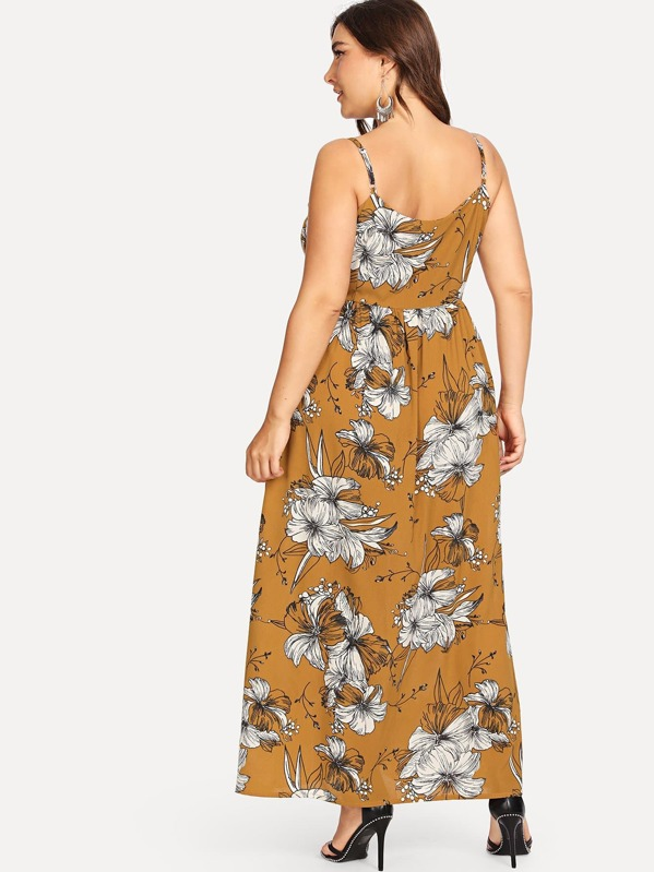 49010d8c905 Plus Floral Print Single Breasted Cami Dress