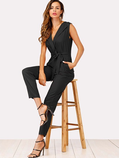 4de16d6cfec4 Zip Back Shawl Collar Knot Jumpsuit