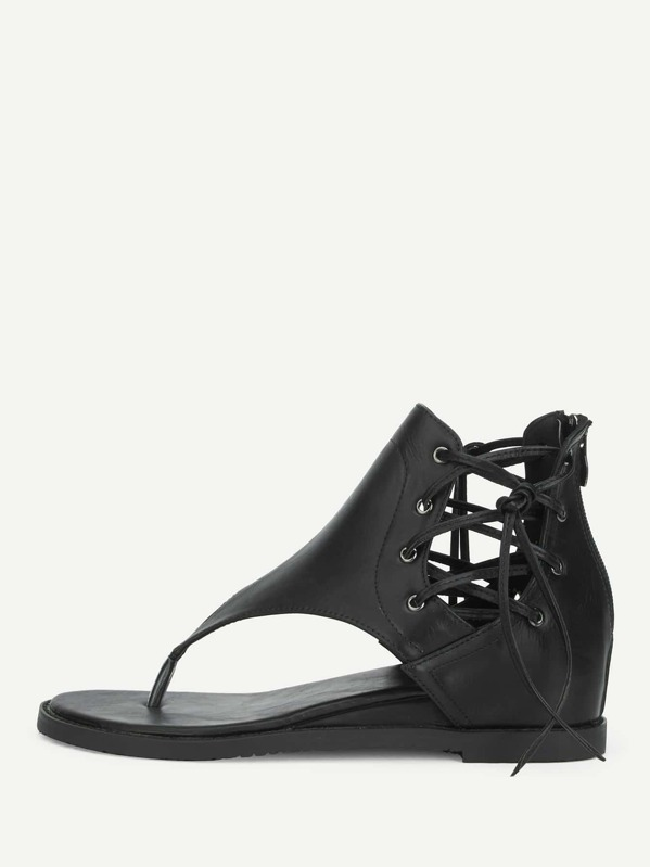 0e7d372624ee Lace Up Side Tote Post Wedge Sandals