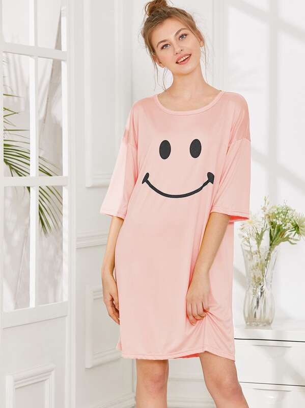 Smile Print Night Dress, Pink, Nelly