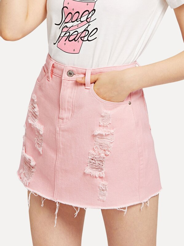 Distressed Denim Skirt in Washed Pink  eb7480c17