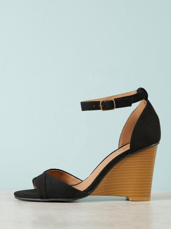 9927f3a3639308 Faux Suede Ankle Strap Wedge Sandal -SHEIN(SHEINSIDE)