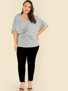 ef9b6ff6c530f Plus Twist Front Knit Top -SheIn(Sheinside)