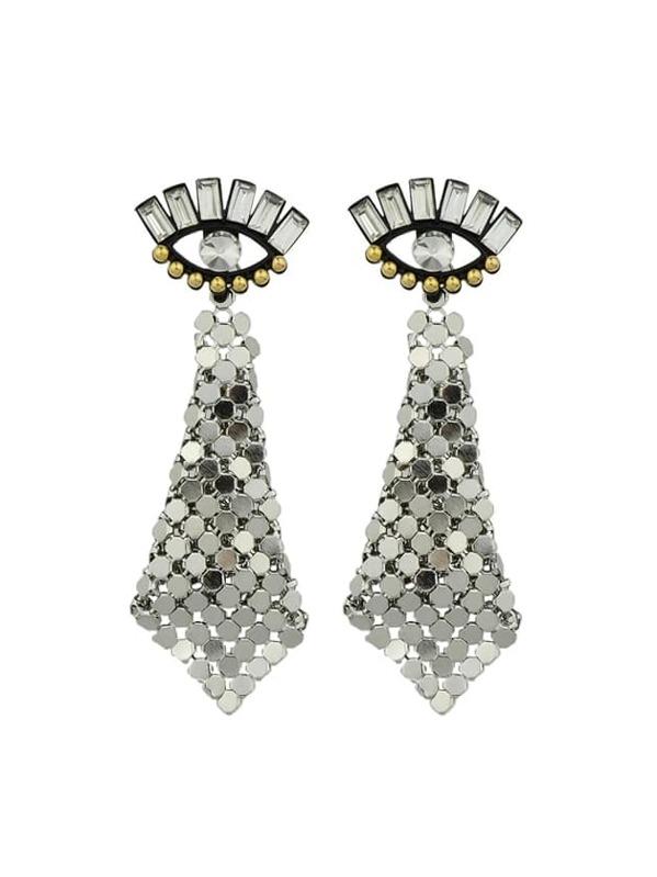345965b1d Rhombus Eye Shape Rhinestone Earrings -SheIn(Sheinside)
