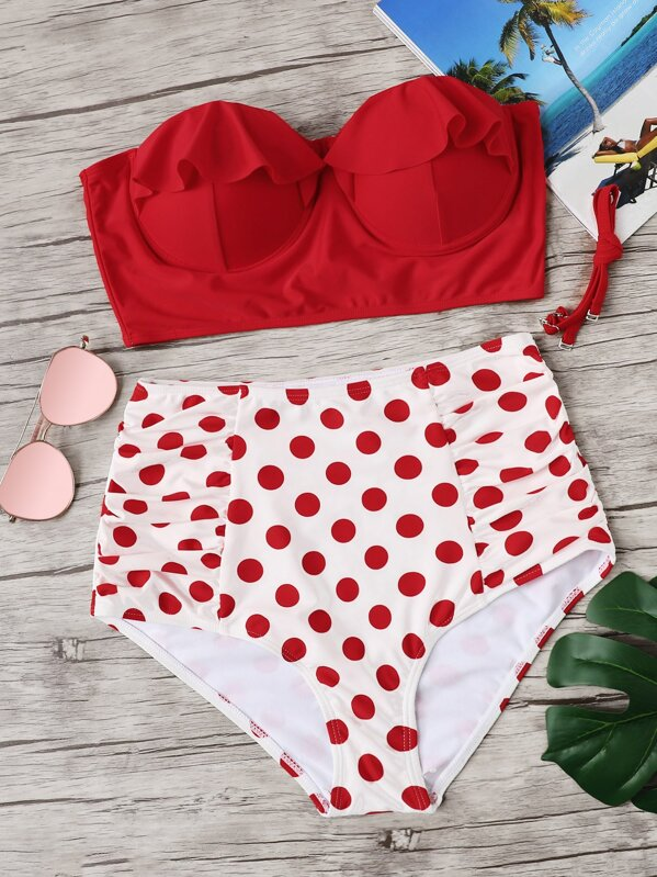 67abffdc07728 Plus Ruffle Top With Polka Dot Bikini Set