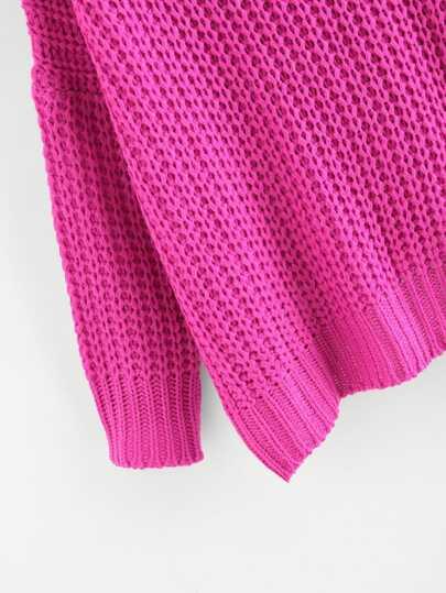 Neon Pink V Neck Drop Shoulder Oversized Sweater  ed8e2980b