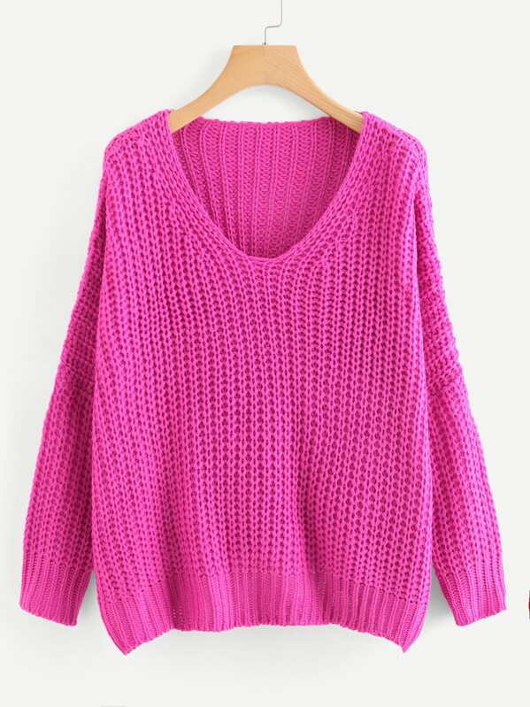 Neon Pink V Neck Drop Shoulder Oversized Sweater -SheIn(Sheinside) 3e33e738f