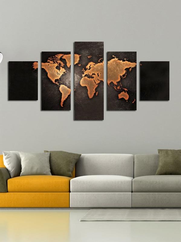 Cheap World Map Print Cloth Art 5pcs For Sale Australia Shein