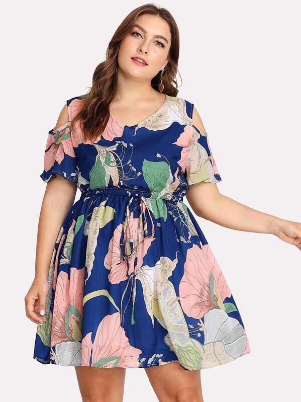 3ac6949b83 Plus Open Shoulder Drawstring Floral Dress -SHEIN(SHEINSIDE)