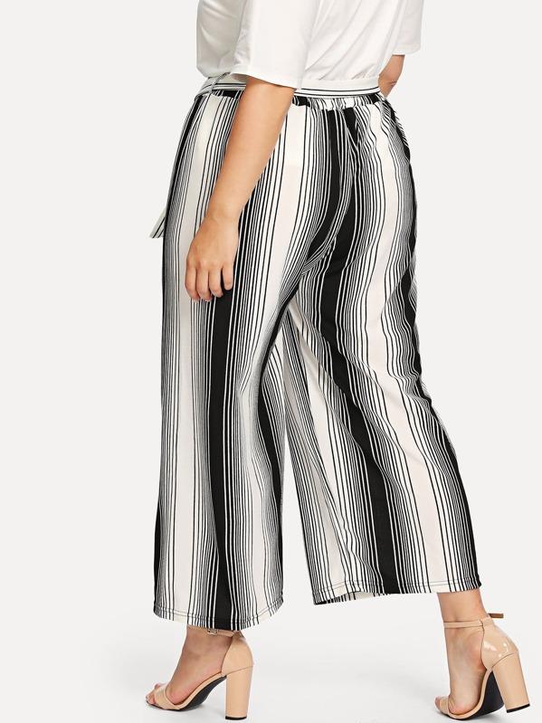 8d2fc419790 Plus Self Belted Striped Wide Leg Pants -SheIn(Sheinside)