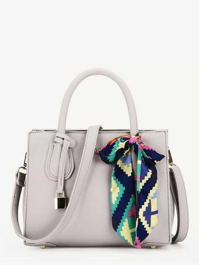 PU Shoulder Bag With Skinny Scarf