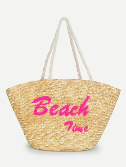 Letter Embroidery Straw Tote Bag Sheinsheinside