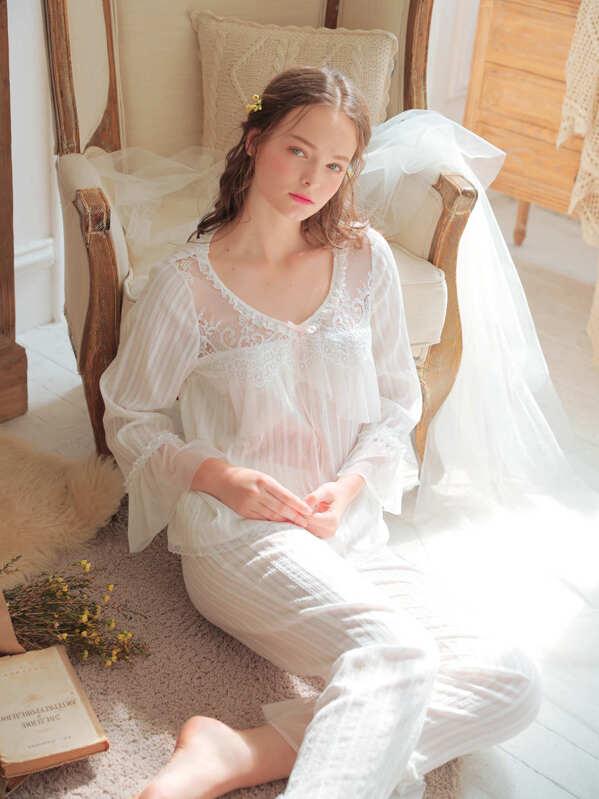 1525953d9a0 Floral Lace Mesh Insert Pajama Set