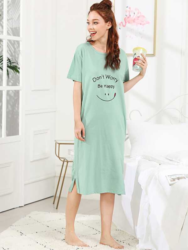 Letter Graphic Split Side Night Dress, Green, Poly