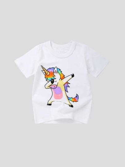 82a2fdc9a75 Toddler Girls Unicorn Print Tee