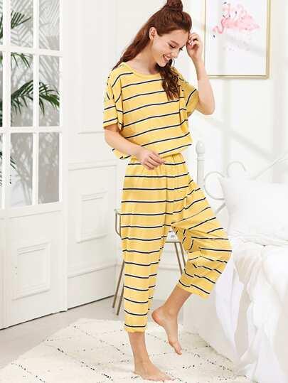 159da72bf3 Striped Top   Pants PJ Set