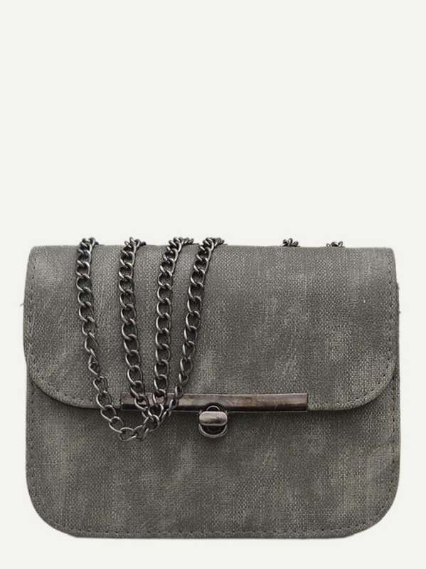Twist Lock Chain Bag, Grey