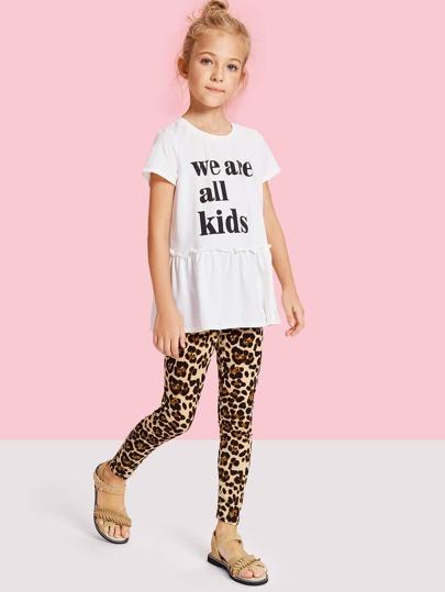 1710d875197c3 Girls Leopard Print Leggings -SheIn(Sheinside)
