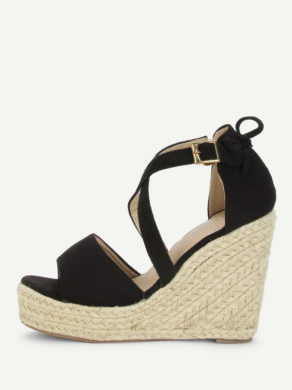 ec886a2b8e459e Bow Detail Platform Wedge Sandals -SheIn(Sheinside)