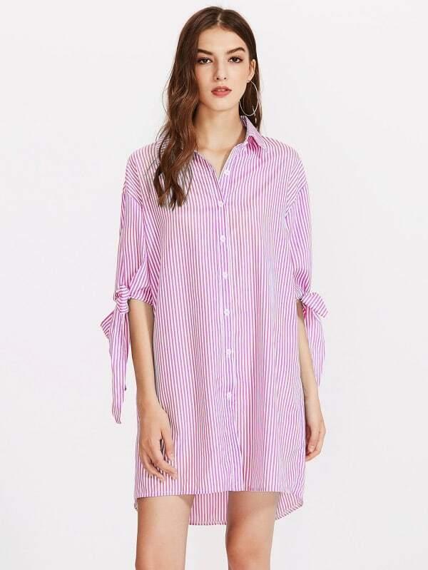 Robe chemise à rayures à nœud papillon rayé vertical-French SheIn(Sheinside) 2922dc9db745