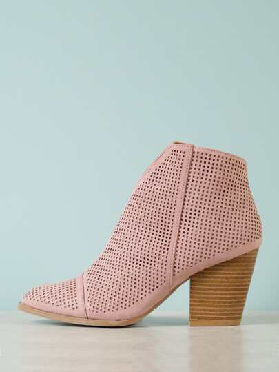 dddfda5cf0f Perforated Almond Toe Bootie