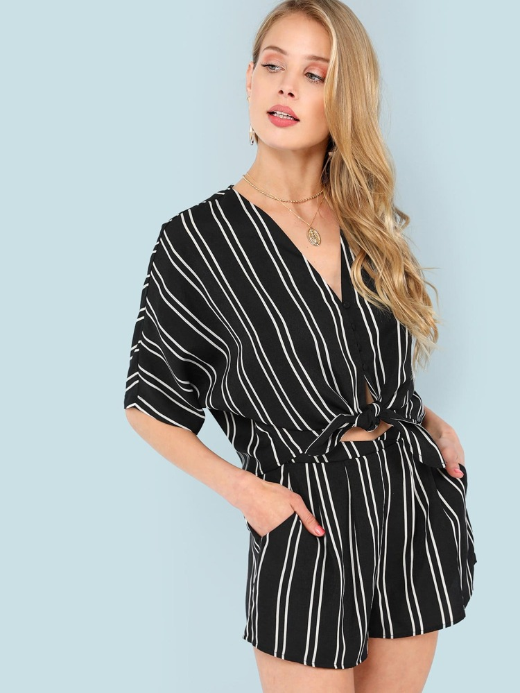 54e67ae132 V-Neck Striped Top & Shorts Co-Ord | SHEIN