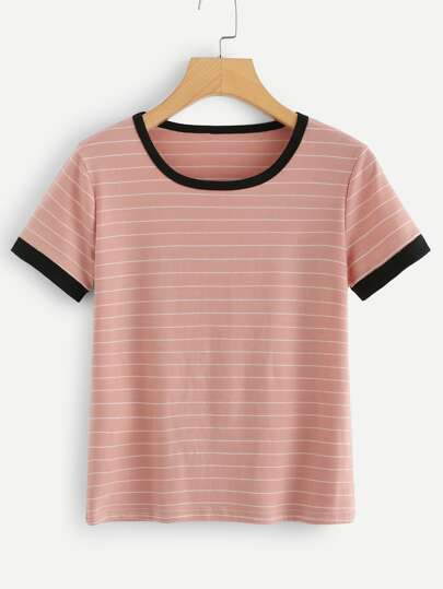 8a61210435363 Striped Ringer Tee