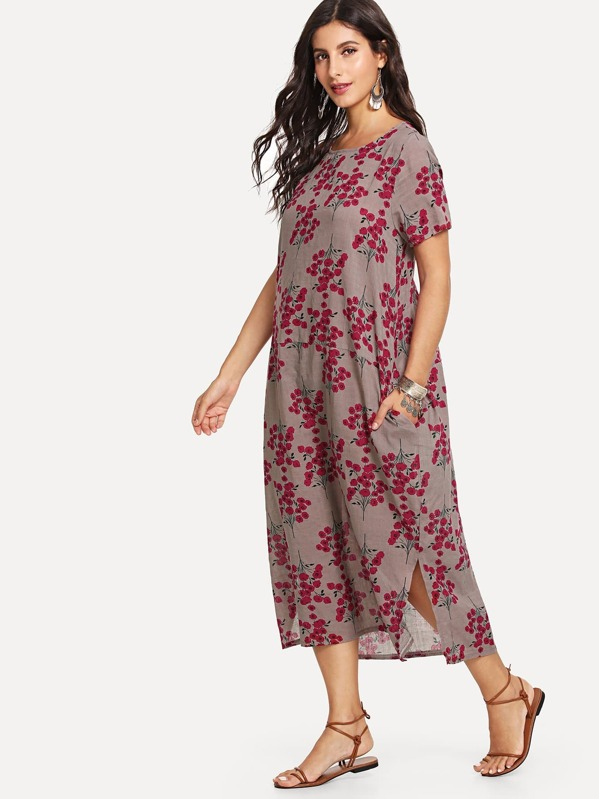 Floral Print Hidden Pocket Longline Dress, Multicolor, Jeane