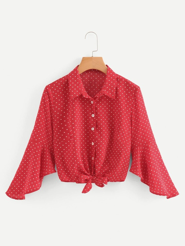 Knot Hem Polka Dot Blouse by Shein