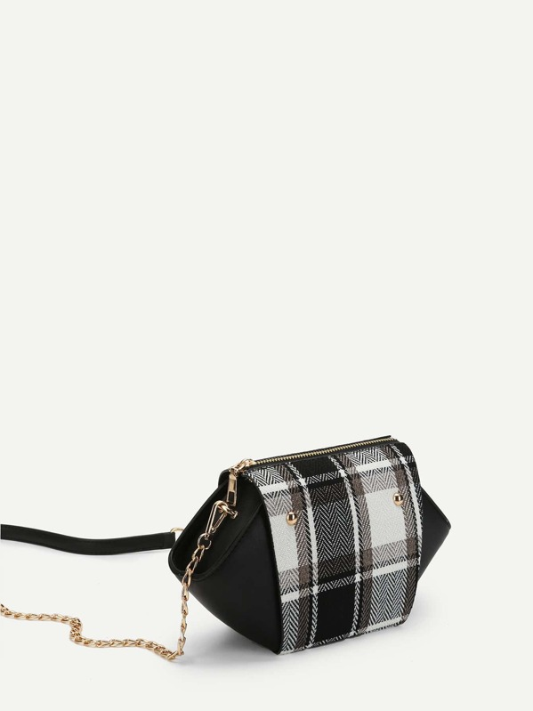 7908025843e8 Plaid Detail Swing Chain Bag -SheIn(Sheinside)
