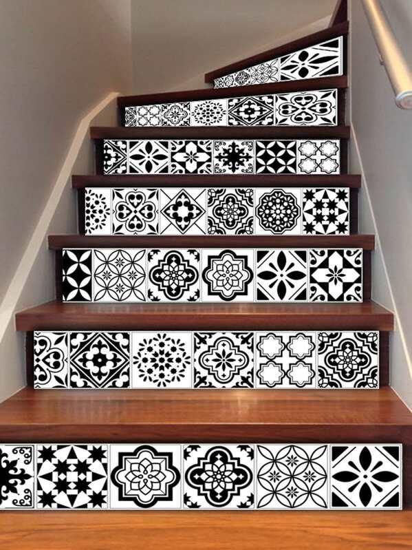 Autocollant De Carrelage Descalier à Motif Symétrique Pièces - Carrelage d'escalier