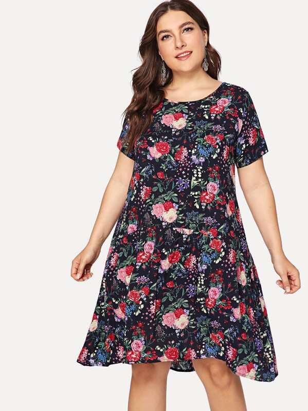 original de costura caliente Productos estilo moderno Vestido de manga corta con estampado floral de talla grande