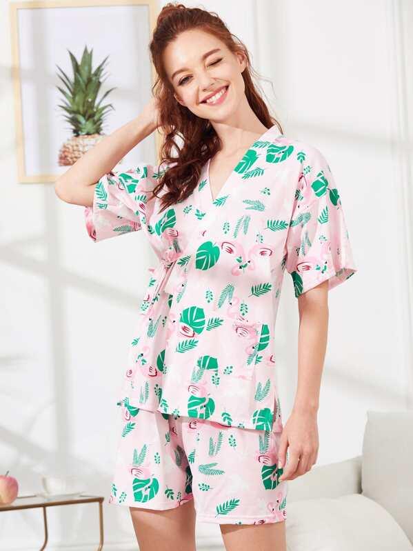8a3955c58e Flamingo & Leaf Print Wrap Pajama Set -SheIn(Sheinside)