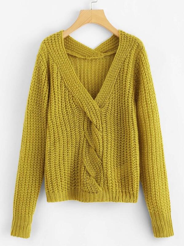 b60390abb3 Twist Front V Neck Solid Sweater -SheIn(Sheinside)