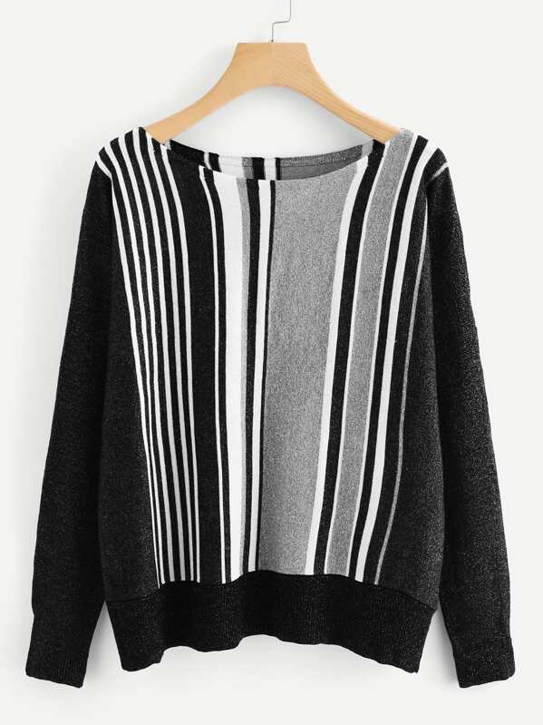 2a6860d6e4 Color Block Marled Knit Sweater -SheIn(Sheinside)