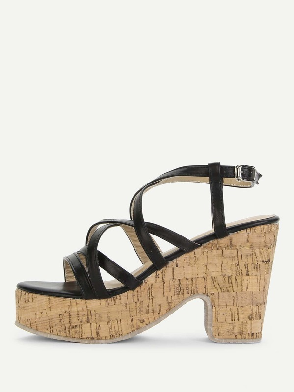 9c39bd0ec0195b Strappy Platform Wedge Sandals -SheIn(Sheinside)