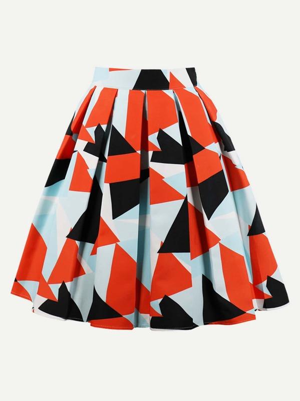 Geo Print Box Pleated Skirt by Sheinside