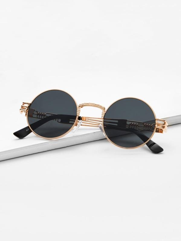 Metal Frame Round Sunglasses -SheIn(Sheinside)
