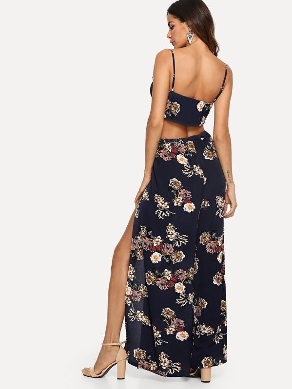 floral cami top palazzo pants set shein sheinside