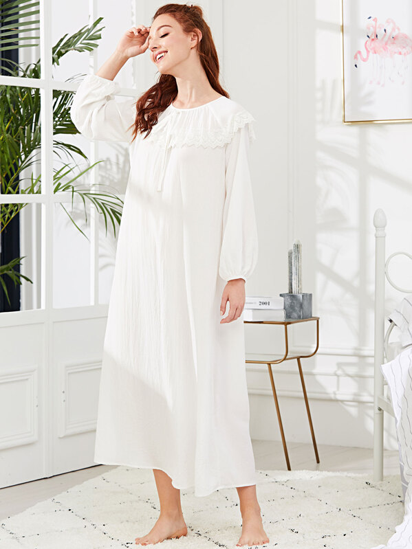 Embroidered Flounce Neck Bishop Sleeve Nightdress, White, Poly